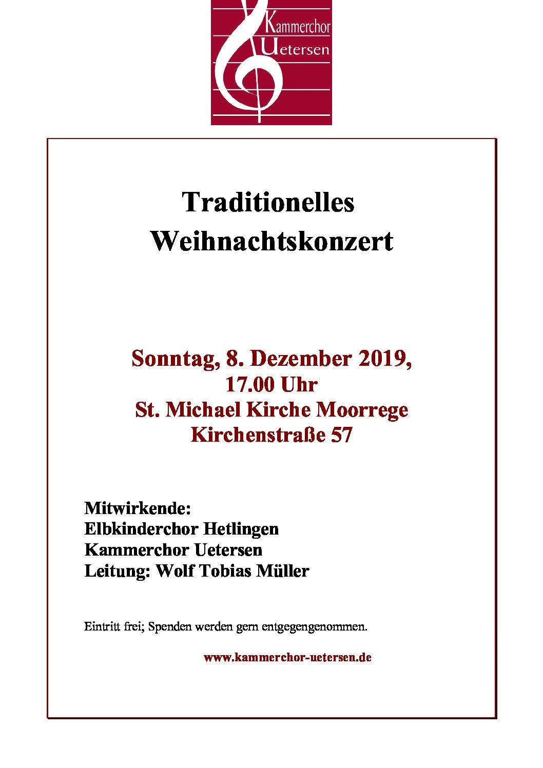 Kammerchor Plakat Weihnachtskonzert 08.12.19